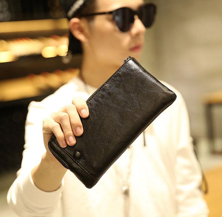 Pre-order กระเป๋าสตางค์ใบยาวผู้ชาย ใส่บัตรได้เพียบ ปิดด้วยซิป แฟขั่นเกาหลี รหัส Man-QB117-7 สีดำ