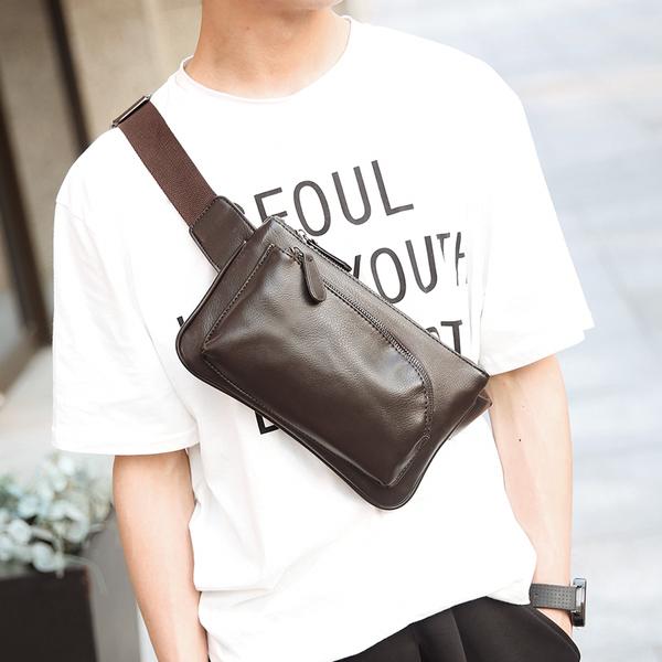 Pre-order ขายส่ง กระเป๋าผู้ชายคาดไหล่ คาดอก คาดเอว แฟขั่นเกาหลี รหัส Man-8076 สีน้ำตาล