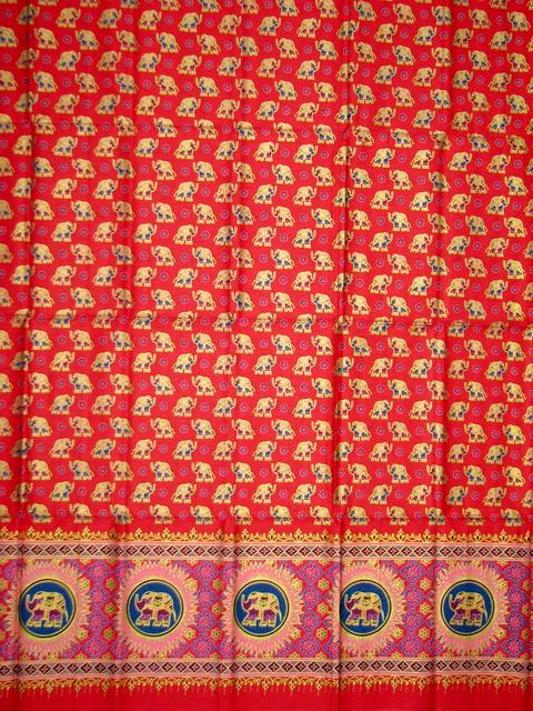ผ้าพิมพ์ทอง no.0044 ลายช้าง