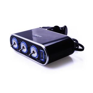อุปกรณ์ตกแต่งรถยนต์ เพิ่มช่องจุดบุหรี่ ชาร์ทในรถ ipod iphone เรืองแสงหลอด led มีswitch เปิดปิด usb