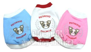 **ไซส์ 0 ขาวกุ๊นแดง / ไซส์ 1 สีฟ้ากุ๊นขาว** เสื้อยืดสุนัขสกรีนลาย Chihuahua