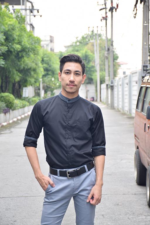 เสื้อเชิ้ตคอจีนสีดำ คอสีเทา