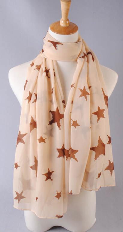 ผ้าพันคอผ้าชีฟองสีเบจ ลายดาวสีน้ำตาล ( รหัส P284 )
