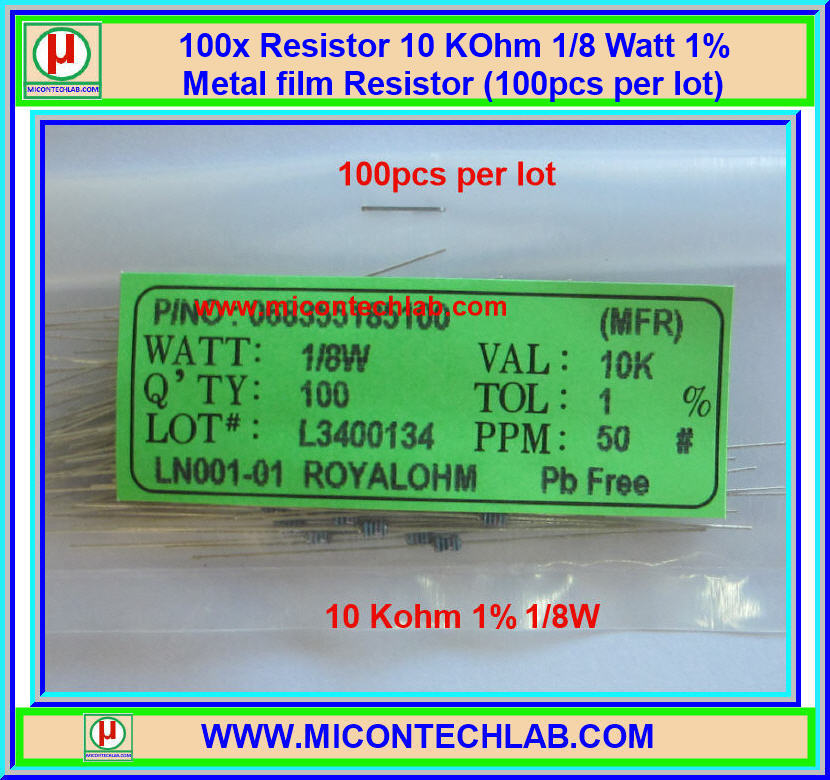 100x Resistor 10 Kohm 1/8 Watt 1% Metal film Resistor (100pcs per lot)