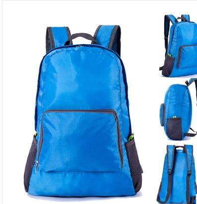 (สีน้ำเงิน) กระเป๋าสะพายกันน้ำพกพาพับเก็บได้ ขนาด 44 x 28 CM