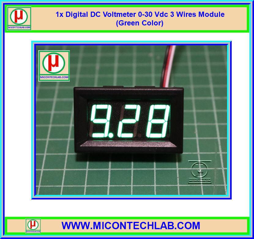 1x Digital DC Voltmeter 0-30 Vdc 3 Wires 0.56 Inch Module (Green Color)