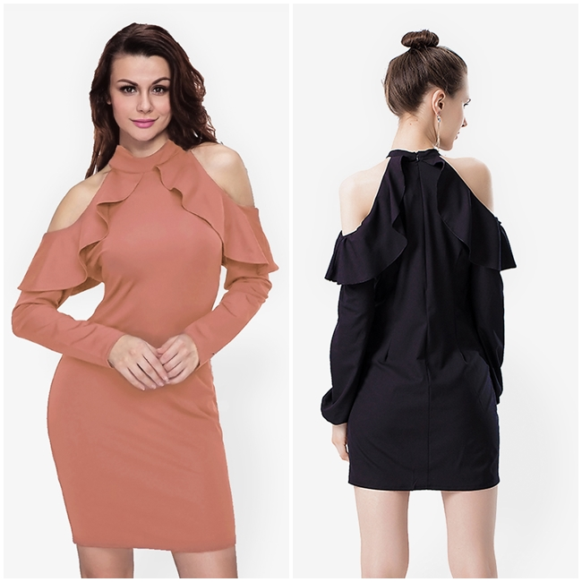 ชุดเดรส Ruffle Strapless Long-sleeved