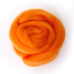 ใยขนแกะเกาหลี เกรดพรีเมี่ยม 005 สีส้ม ขนาด 50g/ก้อน (Pre-order)