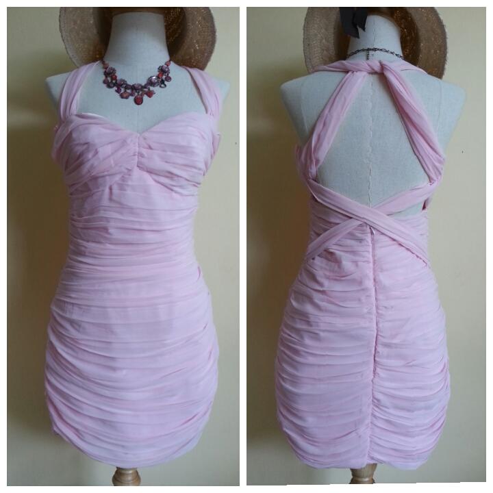 Lipsy Baby Pink Chiffon Dress Size uk10